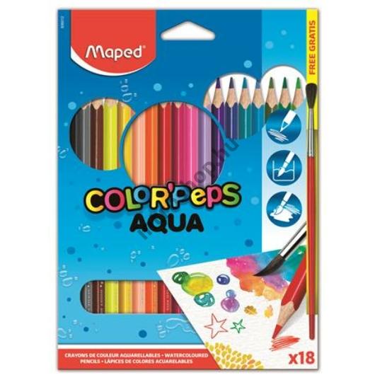 """Akvarell ceruza készlet, háromszögletű, ecsettel, MAPED """"Color Peps"""", 18 különböző szín"""