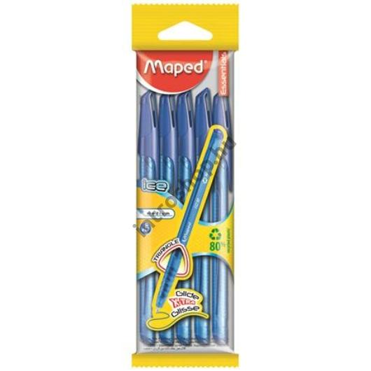 Golyóstoll készlet, 0,5 mm, kupakos, háromszögletű, MAPED,ICE X5, kék