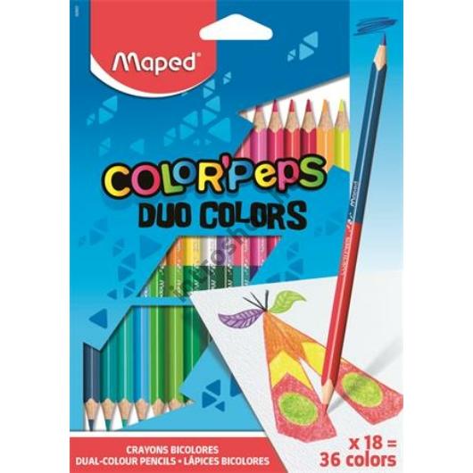 """Színes ceruza készlet, háromszögletű, kétvégű, MAPED """"Color`Peps Duo"""", 36 különböző szín"""