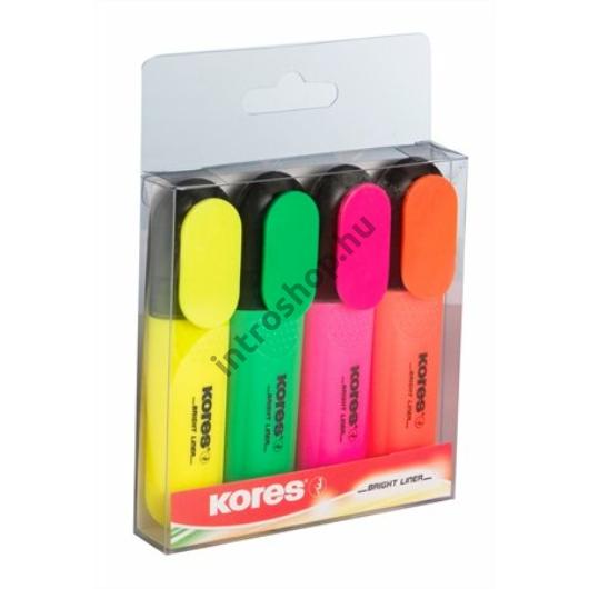 Szövegkiemelő készlet, 0,5-5 mm, KORES, 4 különböző szín