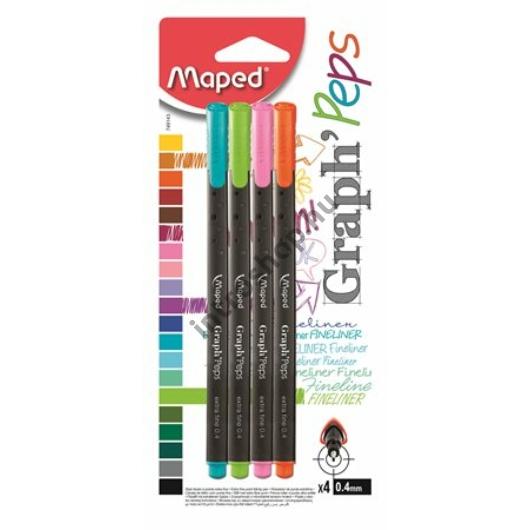 """Tűfilc készlet, 0,4 mm, MAPED """"Graph`Peps"""", 4 különböző vidám szín"""