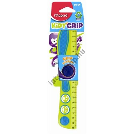 """Vonalzó, műanyag, gumírozott, 20 cm, MAPED """"Kidy Grip"""", vegyes színek"""