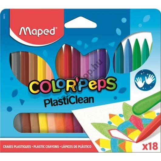 """Zsírkréta, MAPED """"Color`Peps"""" PlastiClean, 18 különböző szín"""