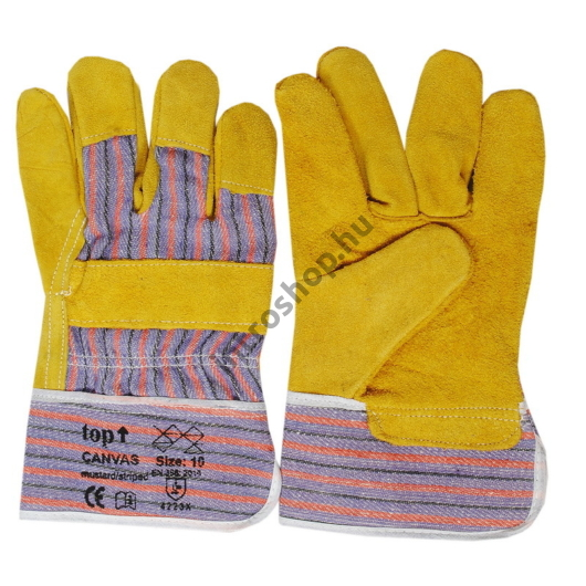 TOP CANVAS hasított marhabőr kesztyű, pamut kézhát, pamut tenyérbélés, sárga, 10