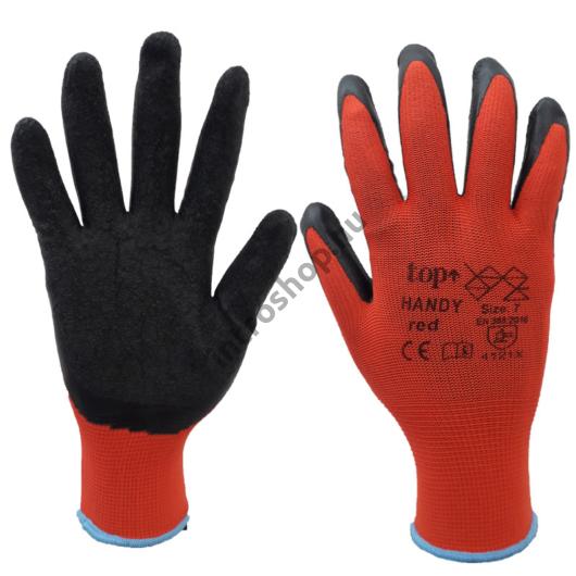 TOP HANDY latex mártott poliészter védőkesztyű, magas kopásállóság, gumírozott mandzsetta, piros/fekete, 11